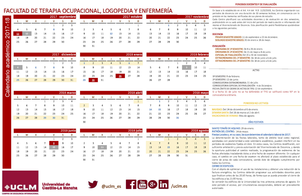 Calendario Uclm 2019.La Facultad Calendario