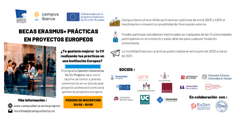 Becas Erasmus+ Prácticas. Spanish Universities for EU projects